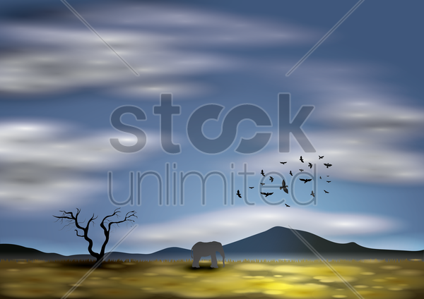 silhouette of elephant and birds vector graphic