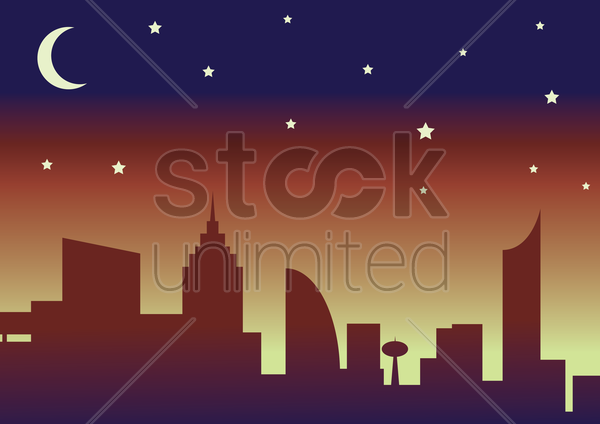 silhouette of the city and night sky with stars and moon. vector graphic