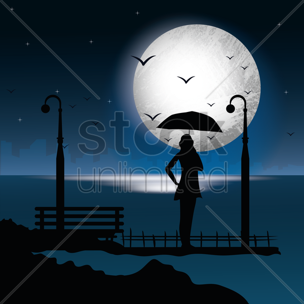 silhouette of woman with umbrella vector graphic