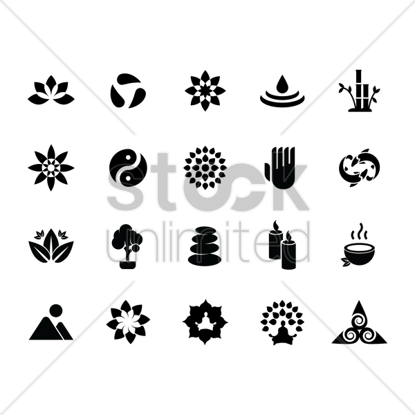 silhouette of zen icon set vector graphic
