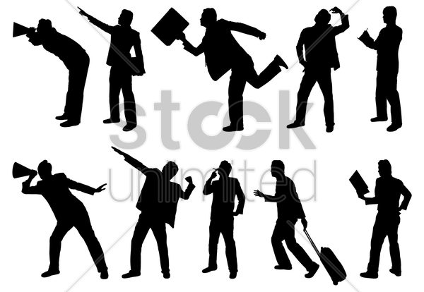 silhouettes of businessman vector graphic