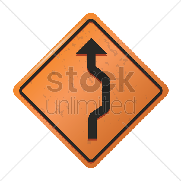 single reverse curve sign vector graphic