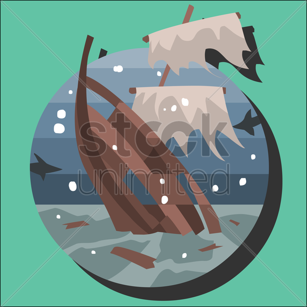 sinking ship in the sea vector graphic