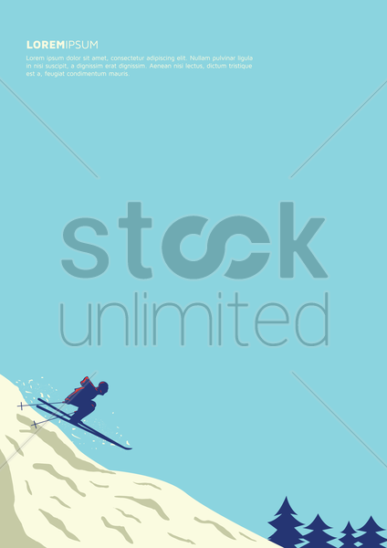 skiing poster design vector graphic