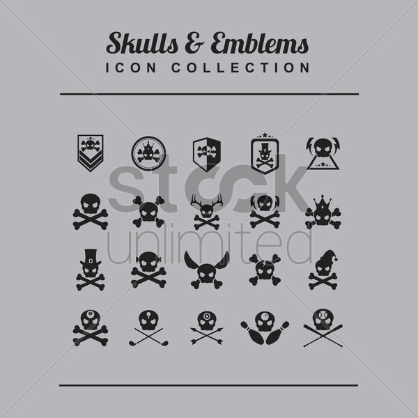 skull and emblems icon set vector graphic