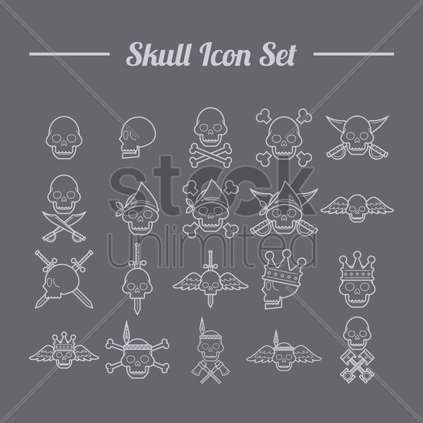 skull icon set vector graphic