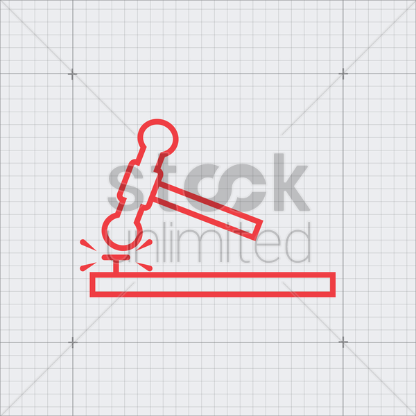 sledgehammer and nail vector graphic