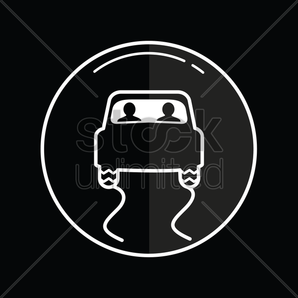 slippery road icon vector graphic