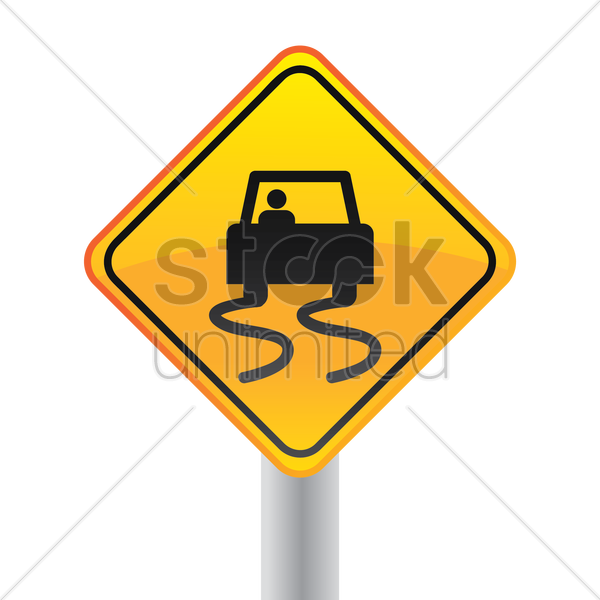slippery road sign vector graphic