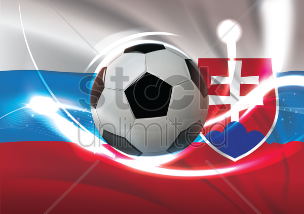 slovakia flag with soccer ball vector graphic