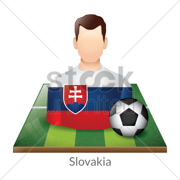 slovakia player with soccer ball on field vector graphic