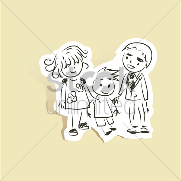 Free small family of three vector graphic