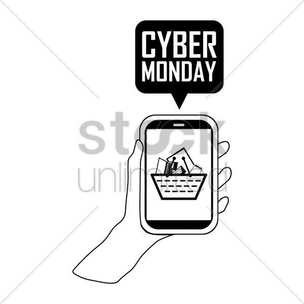 smart phone with cyber monday speech bubble vector graphic
