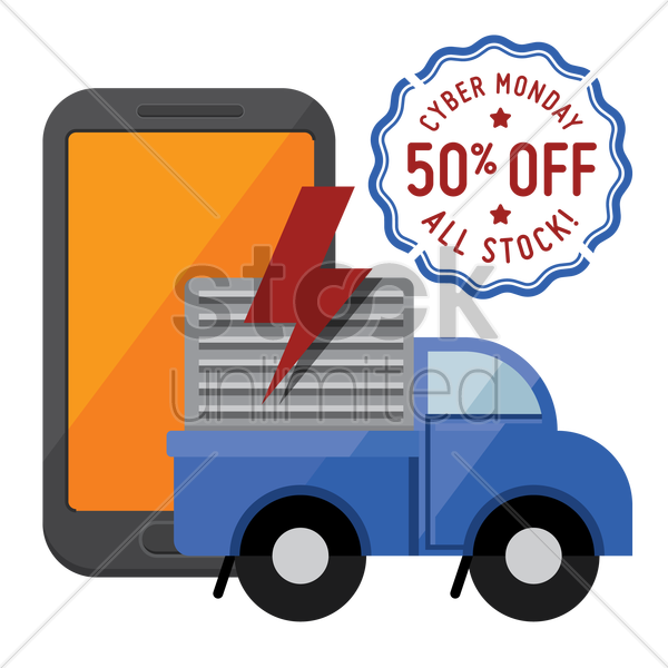 smartphone and delivery truck with cyber monday sale stamp vector graphic
