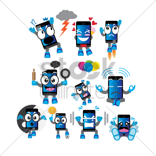 smartphone cartoon with different actions vector graphic