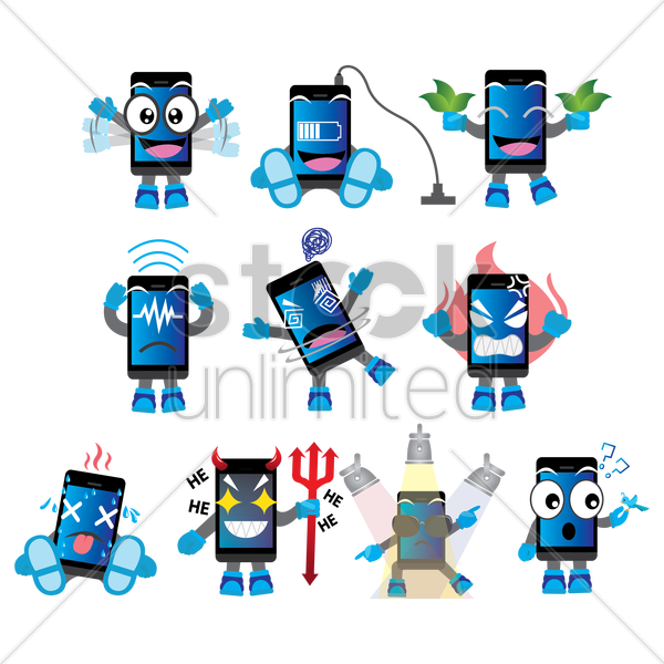 smartphone character with different actions vector graphic