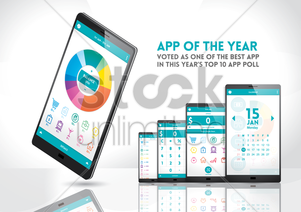 smartphone with app of the year vector graphic