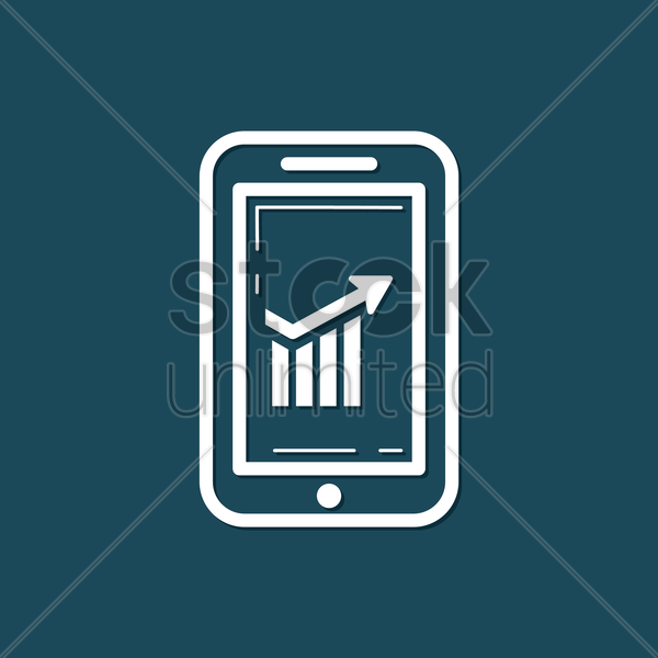 Free smartphone with bar graph vector graphic