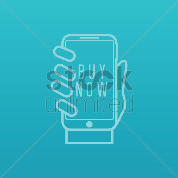 smartphone with buy now icon vector graphic