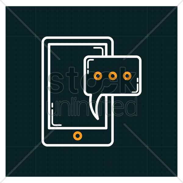 smartphone with chat icon vector graphic