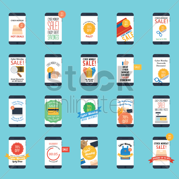 smartphone with cyber monday sale design set vector graphic