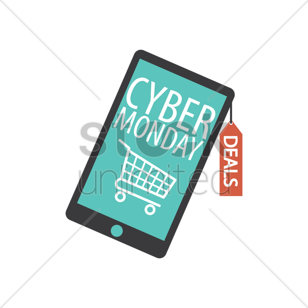 smartphone with cyber monday sale design vector graphic