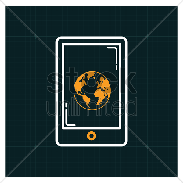 smartphone with globe icon vector graphic