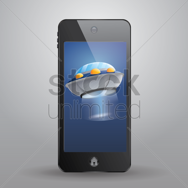 smartphone with spaceship vector graphic