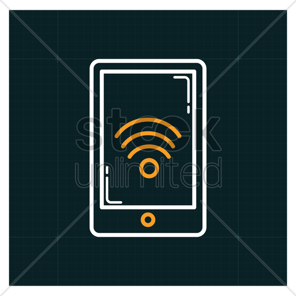 smartphone with wifi icon vector graphic