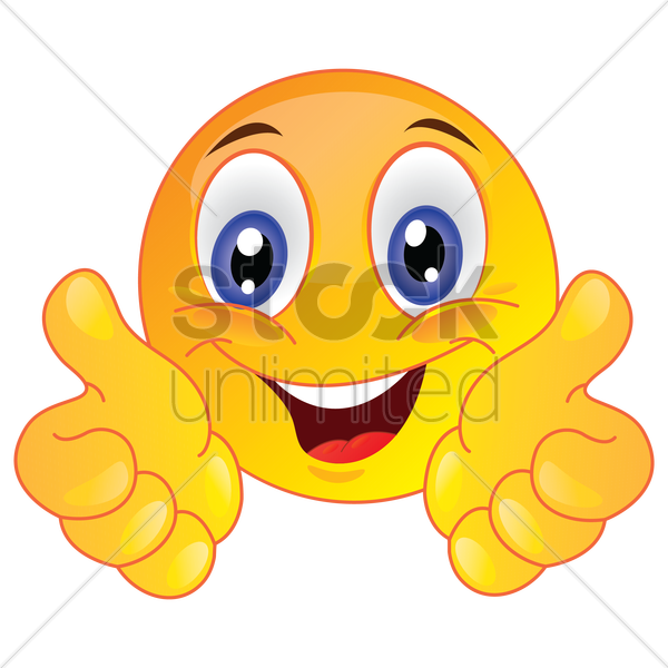 smiley face showing thumbs up vector graphic