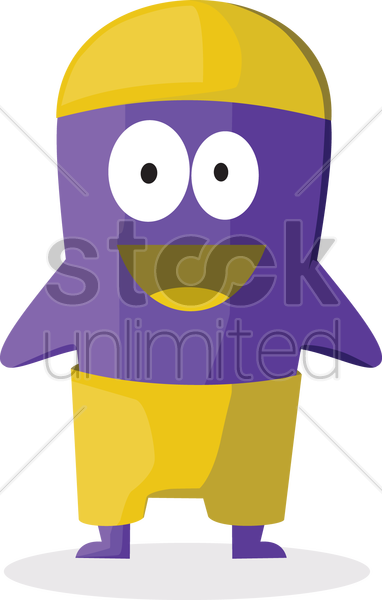 Free smiling monster wearing a cap vector graphic