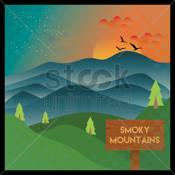 smoky mountains wallpaper vector graphic