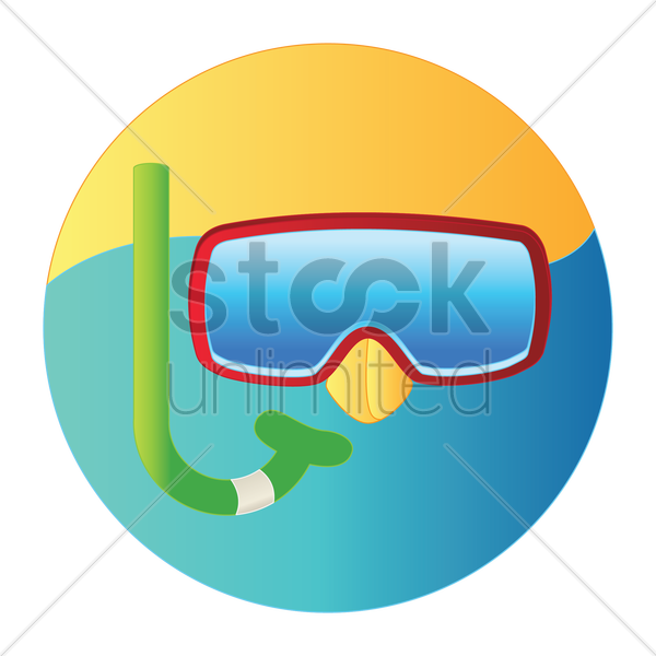 snorkel and mask for diving vector graphic