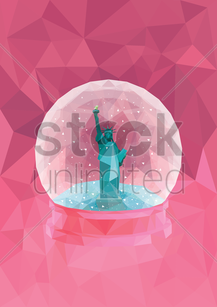 snow globe of statue of liberty vector graphic