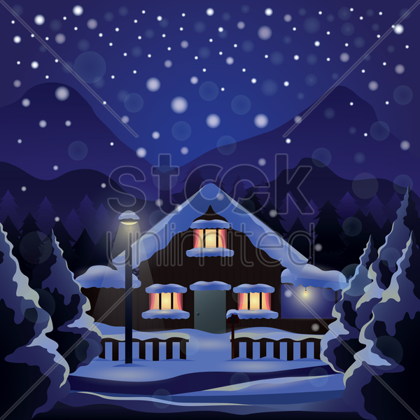 snowing outside a house vector graphic