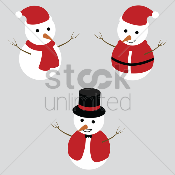 snowman set vector graphic