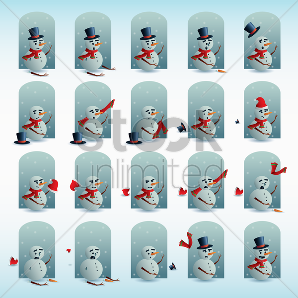 snowman with different expressions vector graphic