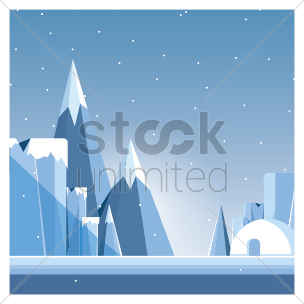 snowy mountains vector graphic