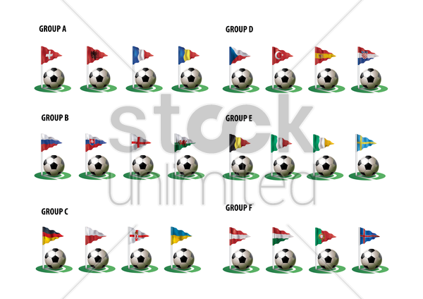 soccer ball with flag pole set vector graphic