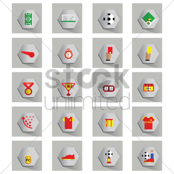 soccer icons collection vector graphic