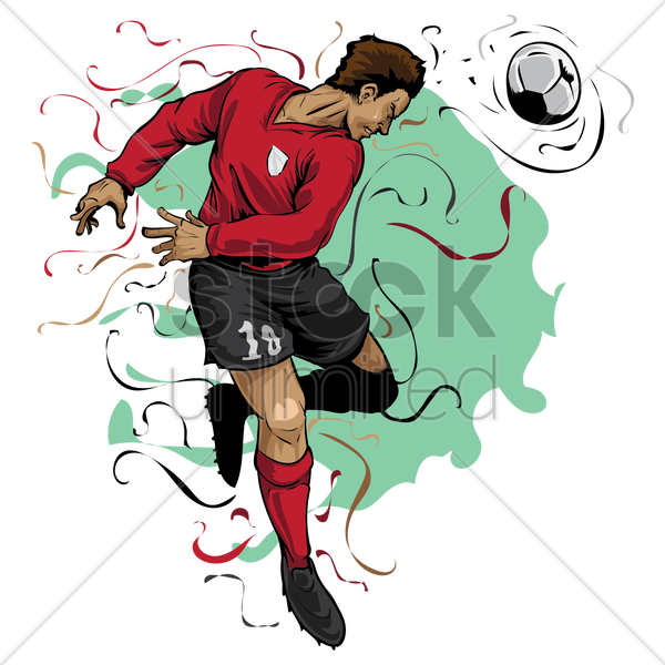 soccer player in action vector graphic