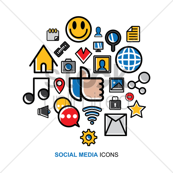 Free social media icons set vector graphic