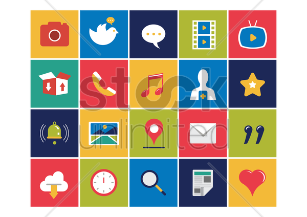 social media icons set vector graphic