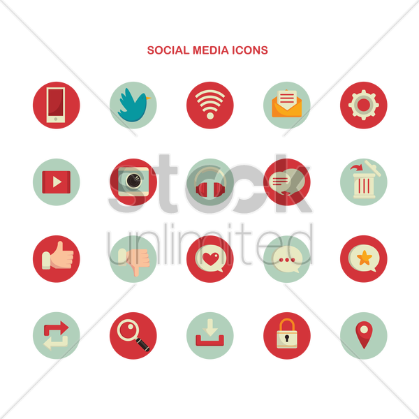 social media icons vector graphic