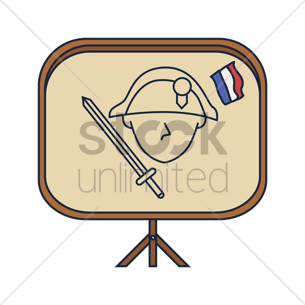 soldier on easel board vector graphic