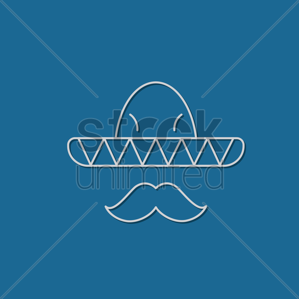 sombrero hat and mustache vector graphic