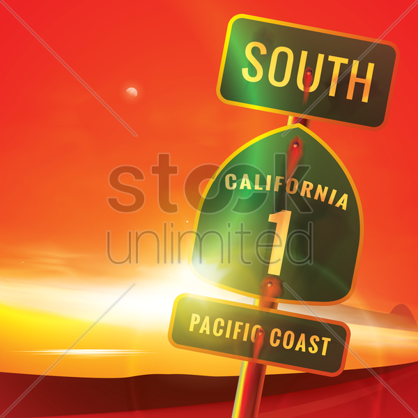 south california route 1 pacific coast sign vector graphic