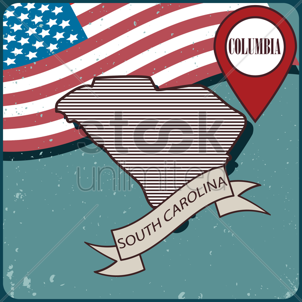 south carolina map label vector graphic