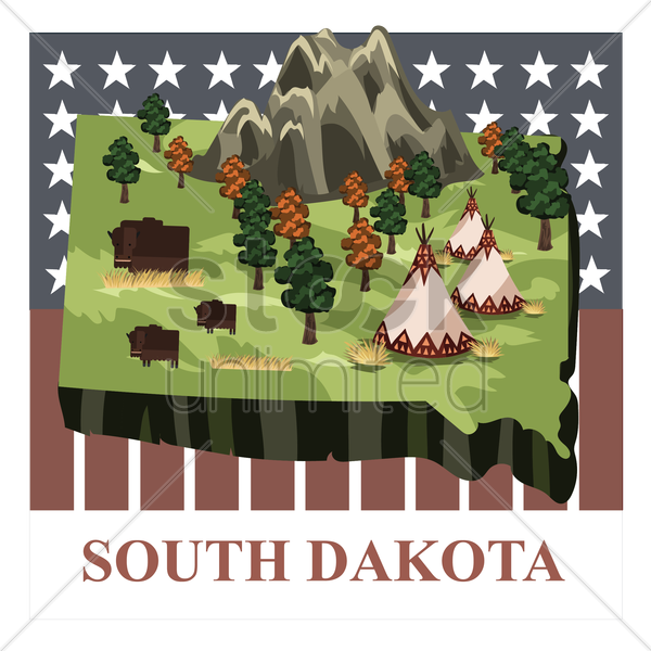 south dakota state map vector graphic