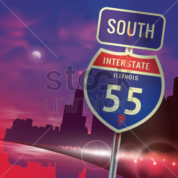 south illinois interstate 55 sign vector graphic